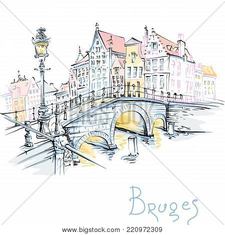 Vector scenic color city sketch, view of Bruges canal and bridge with beautiful medieval houses, Belgium
