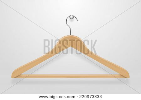 Realistic vector clothes coat wooden hanger close up isolated on white background. Design template, clipart or mockup for graphics, advertising etc.