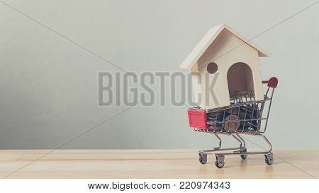 Property investment and house mortgage financial concept, House and money coin in shopping cart