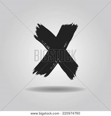 Black ink abstract brushed cross X mark icon with dropped shadow on gray gradient background