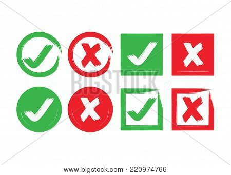 Red and green ink abstract circle and square brushed check mark and crossed X mark boxes icons set on white background