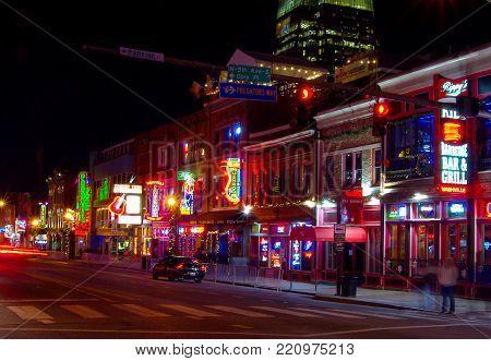 Nashville, Tn--dec 5, 2017 Time Exposure Of Nightlife On Broad Street Restaurants And Bars Lit Up In