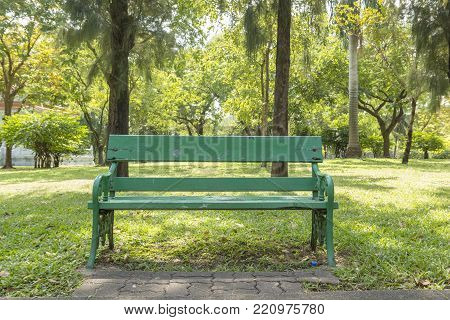 green bench in park in sunny day. this place in Lumphini park, bangkok, Thailand.