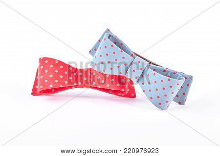 Pair of dotted bow ties. Colorful hair bows with spots isolated on white background.