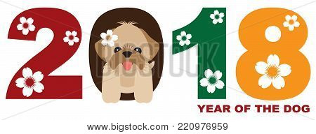 2018 Chinese Lunar New Year of the Dog Numeral with Shih Tzu Puppy Color Vector Illustration