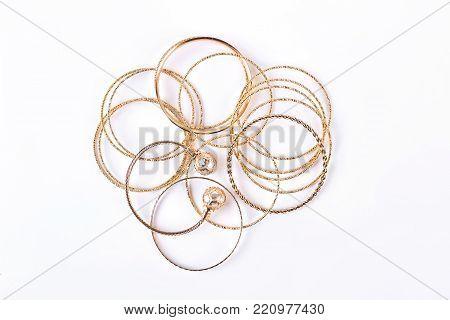 Indian bracelets isolated on white background. Bangle, beauty, fashion.