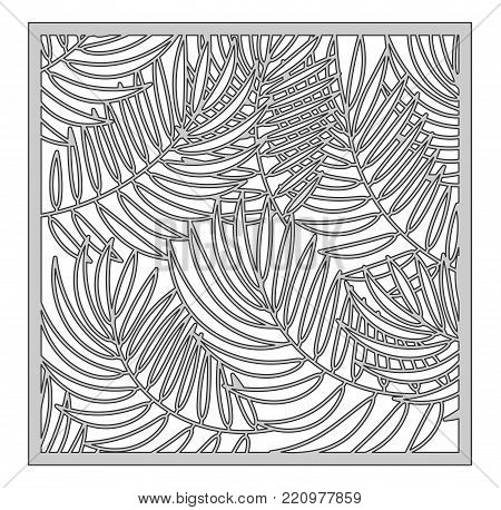 Template for cutting. Palm leaves pattern. Laser cut. Ratio 1:1. Vector illustration.