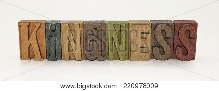 Kindness Word Block Letters on an Isolated White Background