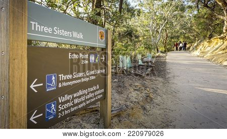 Sydney, Australia - Apr 18, 2017: Directory signage for the benefit of bush walkers or trekkers. A popular recreational walking path along the Three Sisters Walk, Katoomba, Blue Mountains National Park.