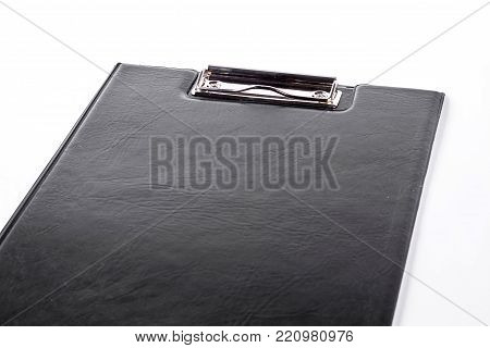 Blank clipboard on white background. Black empty clipboard isolated on white background. Paper work and stationary concept.