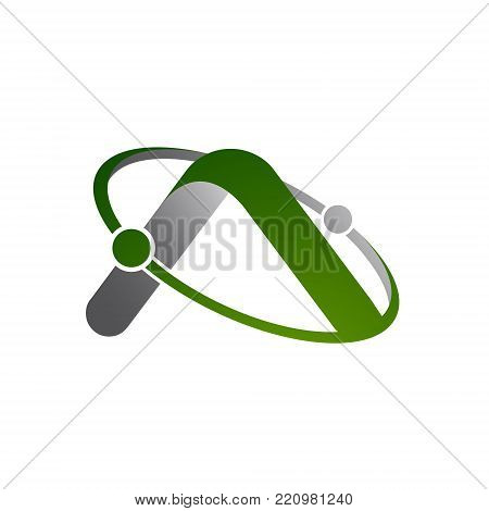 3D letter A simple with atom orbits meteor space Abstract swoosh Initial alphabet Logo design Template