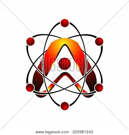 3D letter A with atom orbits meteor space Abstract swoosh Initial alphabet Logo design Template