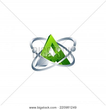 3D letter AM atom orbits meteor space Abstract swoosh Initial alphabet Logo design Template