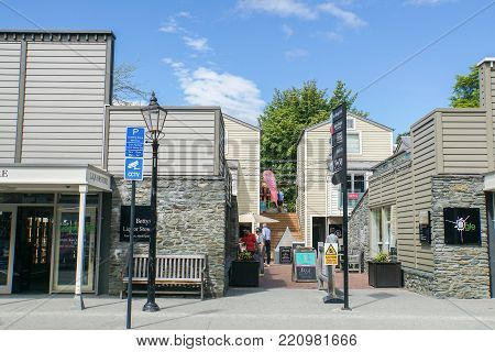 Arrowtown / New Zealand - 2 November 2017: people go shopping in clothes shop in holidays