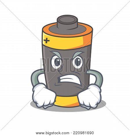 Angry battery mascot cartoon style vector illustration
