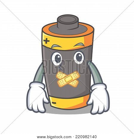 Silent battery mascot cartoon style vector illustration
