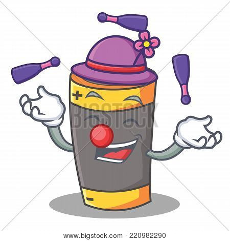Juggling battery mascot cartoon style vector illustration