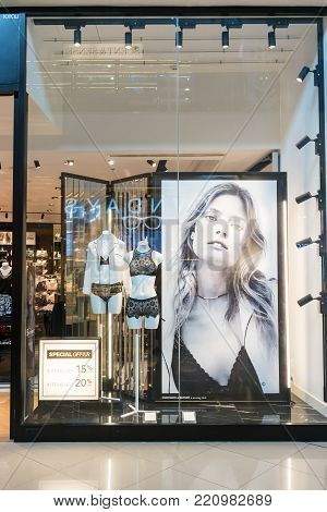 Etam paris shop at Mega Bangna, Bangkok, Thailand, Oct 18, 2017 : French boutique lingerie store chain. Fashionable and Luxury brand shop window display.