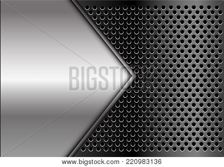 Abstract silver arrow blank space on dark gray circle mesh design modern luxury futuristic background vector illustration.