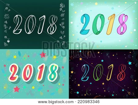 Year Specific 2018. Four retro cards with numerals by artistic font. Graceful floral decor. Illustration