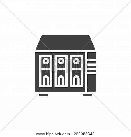 NAS server icon vector, filled flat sign, solid pictogram isolated on white.  Rack units, servers symbol, logo illustration.