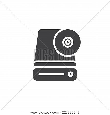 Hard disk icon vector, filled flat sign, solid pictogram isolated on white. HDD symbol, logo illustration.