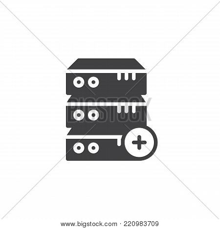 Computer server plus add icon vector, filled flat sign, solid pictogram isolated on white. Database add symbol, logo illustration.
