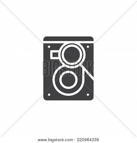 Search hard drive disk icon vector, filled flat sign, solid pictogram isolated on white. HDD with magnifier symbol, logo illustration.
