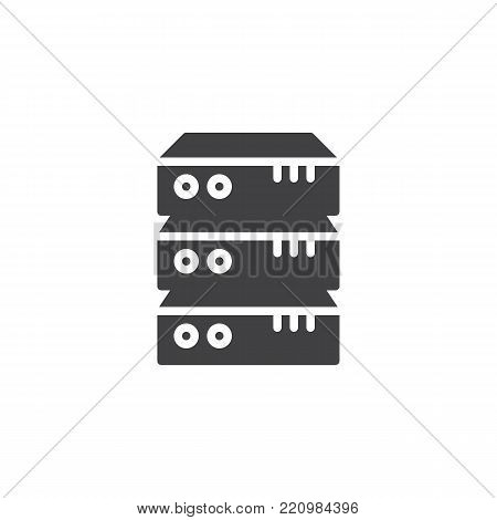 Computer server icon vector, filled flat sign, solid pictogram isolated on white. Data center symbol, logo illustration.