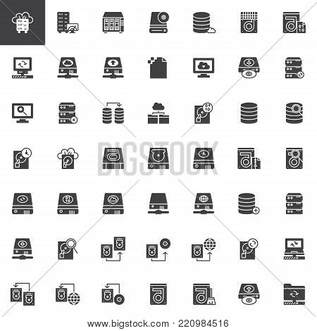 Data recovery vector icons set, modern solid symbol collection, filled style pictogram pack. Signs, logo illustration. Set includes icons as hard drive disk, store binary file, transfer data