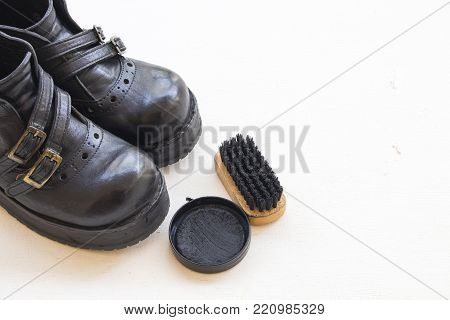 shoes polish with leather shoes for clean on white