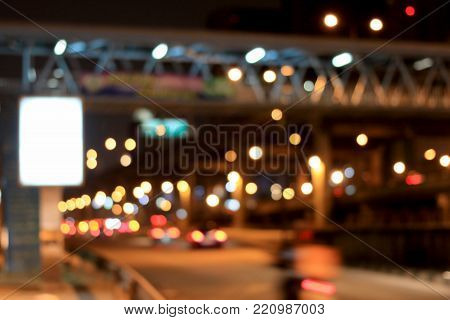 Blurred Image Of Billboard Blank For Outdoor Advertising Poster,  Blank Billboard In Night Time For