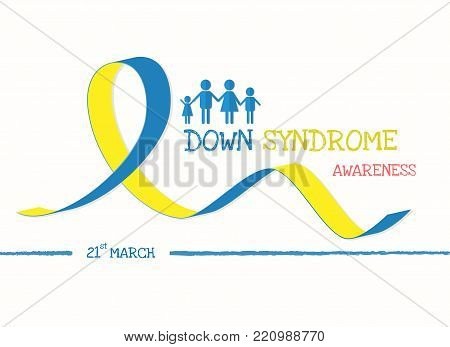 World down syndrome day with blue yellow awareness ribbon bow color Vector illustration.
