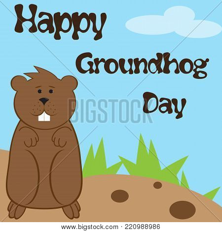 Vector illustration for Groundhog Day with a picture of a marmot on the ground with grass under the blue sky and inscription Happy Groundhog Day in simple cartoon style