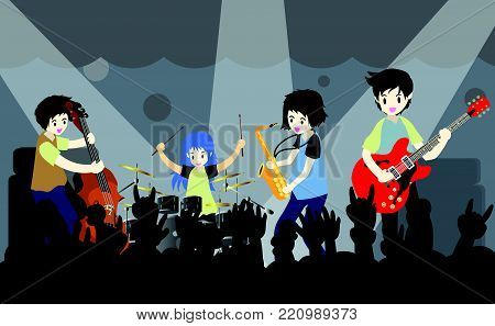 Musicians band ,Play guitar,bassist ,Piano,Saxophone .Jazz band.Vector illustration isolated on background in cartoon style
