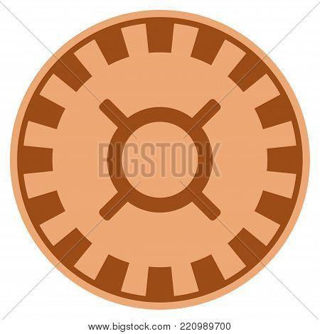 Currency bronze casino chip pictograph. Vector style is a bronze flat gamble token symbol.