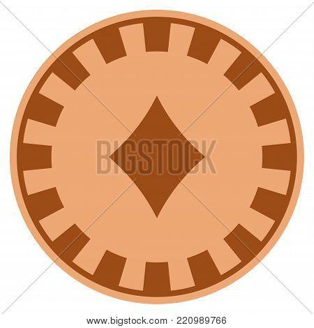 Diamonds Suit bronze casino chip pictogram. Vector style is a bronze flat gambling token item.