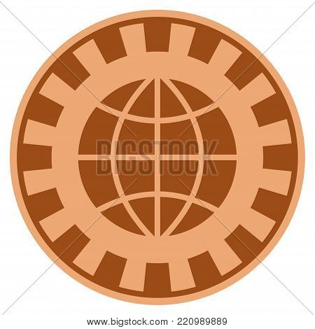 Globe bronze casino chip pictograph. Vector style is a bronze flat gamble token item.