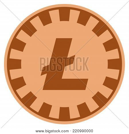 Litecoin bronze casino chip icon. Vector style is a bronze flat gamble token item.
