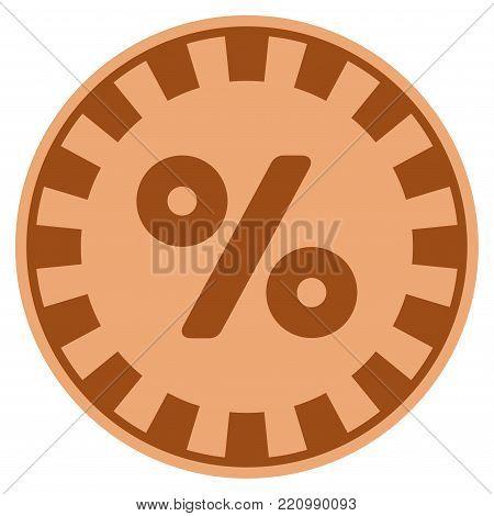 Percent bronze casino chip pictogram. Vector style is a bronze flat gambling token item.
