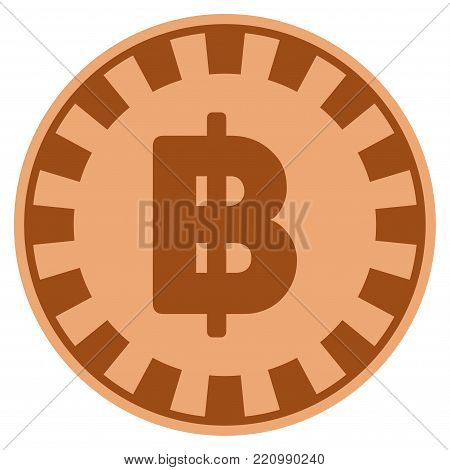 Thai Baht bronze casino chip icon. Vector style is a bronze flat gambling token item.