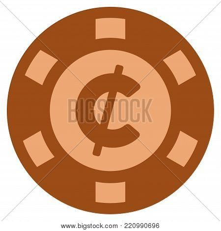 Cent bronze casino chip icon. Vector style is a bronze flat gambling token item.