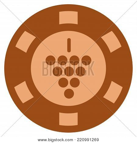 Grapes bronze casino chip icon. Vector style is a bronze flat gambling token symbol.