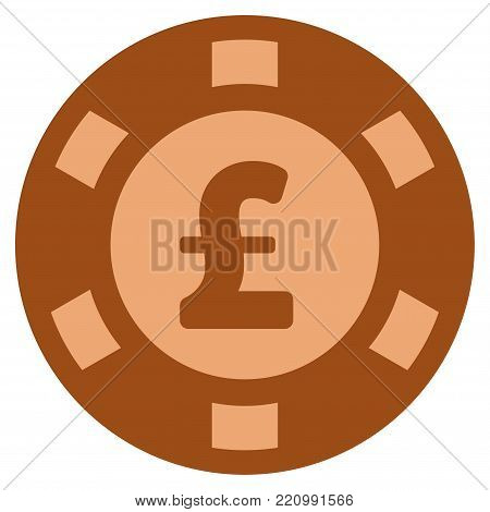 Pound Sterling copper casino chip pictograph. Vector style is a bronze flat gamble token symbol.