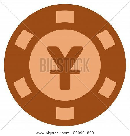Yen bronze casino chip pictograph. Vector style is a bronze flat gamble token item.