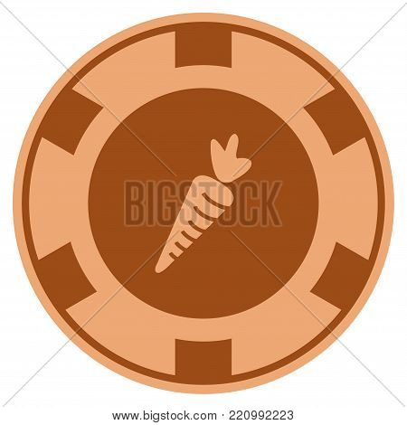 Carrot bronze casino chip icon. Vector style is a bronze flat gamble token item.