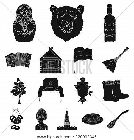 Country Russia, travel black icons in set collection for design. Attractions and features vector symbol stock  illustration.