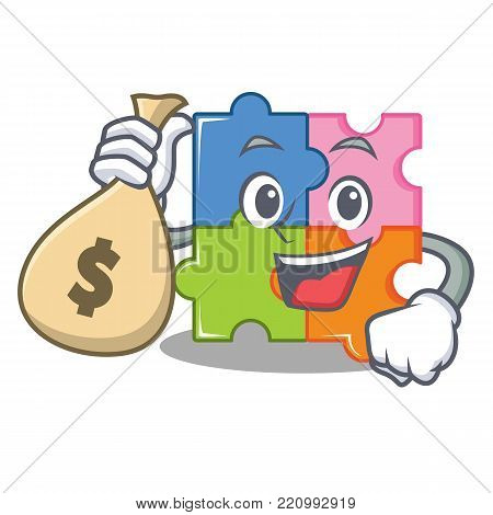 With money bag puzzle character cartoon style vector illustration