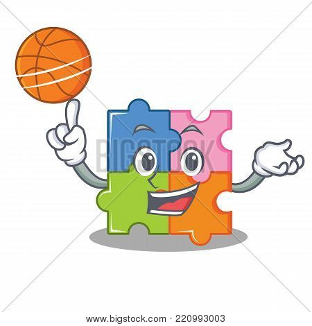 With basketball puzzle character cartoon style vector illustration