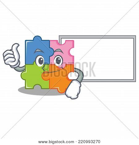 Thumbs up with board puzzle character cartoon style vector illustration